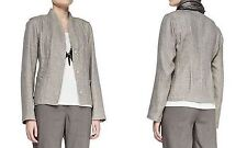 Eileen Fisher Taupe Organic Cotton Linen Basketweave Stand Collar Jacket PP