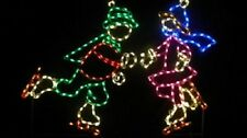 Winter Ice Skating Christmas Kids Outdoor LED Lighted Decoration Steel Wireframe