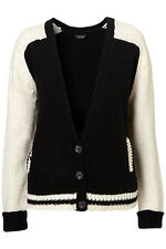New TOPSHOP knitted baseball chunky cardigan UK 14 in Multi