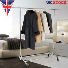 Adjustable Chrome Metal Single Rail Garment Clothing Rack Coat Stand with wheels