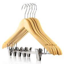 Hangerworld™ 10 Natural Wooden 45cm Clip Hangers Clothes Coat Trousers Notched