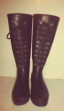 UGG sz 8 Rubber Rain Boots Knee High Black Leather Waterproof Lace Up boots