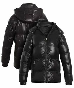Boys Padded Puffer Coat Ages 7 8 9 10 11 12 13 Years Bubble Mid Jacket Black
