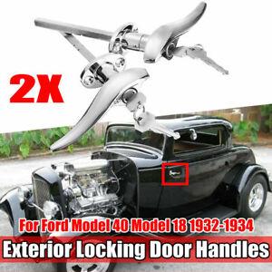 Pair Car Outside Door Locking Handles Steel For Ford Model 40 Base 1993-1994