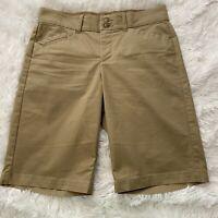 "Dockers Womens Size 4 Brown Khaki Long Chino Shorts 10"" Inseam 10"" Rise EUC"