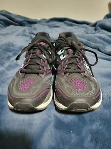 Asics GT-2000 7 Running Shoes Women Size 8.5 Wide Black Purple Athletic Sneakers