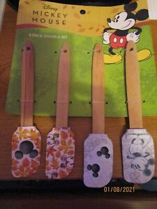 New Disney Mickey Mouse 4 Pack Spatula Set w Built in hook for hanging Silicone