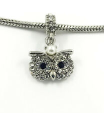 1pcs Silver Owl European Charm Crystal Spacer Beads Fit Necklace Bracelet NEW