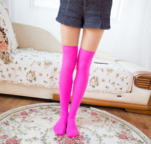 Girls Ladies Thigh High OVER KNEE Socks Long Cotton Stockings Hot Pink