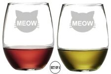 CAT MEOW Set 2 Etched Stemless Red White Rose Wine Glass Monogrammed Engraved
