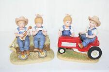 Homco Denim Days Figurines 1st Tractor Ride & Kids on Hay wagon 1985