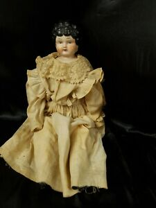 """Large 18"""" Vintage China Head Doll Black Hair blue eyes 1960s Reproduction doll"""