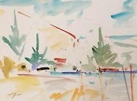 """JOSE TRUJILLO ORIGINAL Watercolor Painting American Fauvism 9X12"""" COA Nature"""