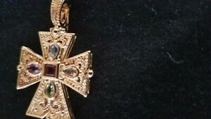Gold Plated Etruscan Cross Pendant With Gemstones New Without tags