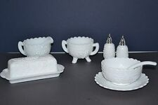 VINTAGE IMPERIAL MILK GLASS TABLE SET GRAPE PATTERN 9PC SET BUTTER DISH AND MORE