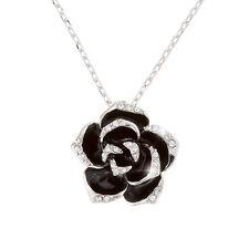 """18K plaqué platine noir émail fleur collier pendentif 18"""" chaîne à maillons (H41/2)"""