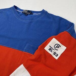 Vintage Polo Ralph Lauren (L) Red/White/Blue CP RL-93 Cotton Color Block Shirt