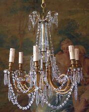 Lustre Style Louis XVI, Pampilles De Cristal Et Bronze, 6 Feux