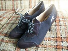 """Joan and David Brown Womens 11M Leather/Text Lace-Up Heels (4.25"""")"""