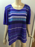 BNWT Ladies Sz M/18 Myer BIB Cute Lavender Short Sleeve Round Neck Top RRP $50