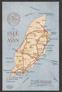 Postcard Isle of Man early map card