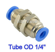"""Bulkhead Union Connector Tube OD 1/4"""" Pneumatic Air Push To Connect Fitting 5pcs"""