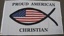 PROUD AMERICAN CHRISTIAN FISH FLAG 3'X5' U.S.A FAITH RELIGIOUS 3X5 FEET NEW F948