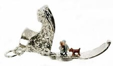 Grande argento Sterling apertura One Man & Il Cane Boot Charm