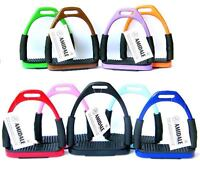 AMIDALE FLEXI SAFETY STIRRUPS HORSE RIDING BENDY IRONS STAINLESS STEEL 10 COLORS