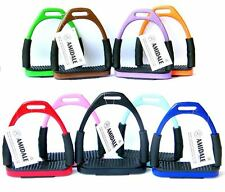 FLEXI SAFETY STIRRUPS HORSE RIDING BENDY IRONS STAINLESS STEEL 10 COLORS AMIDALE