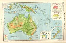 1952 MAP ~ AUSTRALIA ~ PHYSICAL ANNUAL RAINFALL NEW ZEALAND NEW GUINEA INDONESIA