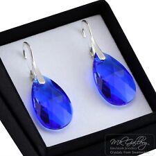 Pendientes de plata 925 22 mm Pera Majestic Azul Cristales de Swarovski ®