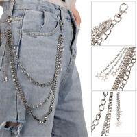 Metal Gothic Pants Chain Hip Hop Punk 3 Layers Jean Key Wallet Chain Star Woy3