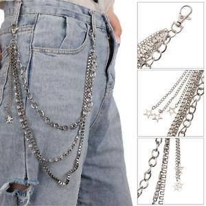 Metal Gothic Pants Chain Hip Hop Punk 3 Layers Jean Key Wallet Chain Star Wo_cd