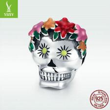 925 Sterling Silver Charm Flower Skeleton Skull Bead For Women Bracelet Necklace