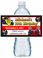 20 RACE CAR BIRTHDAY PARTY FAVORS WATER BOTTLE LABELS ~ waterproof ink