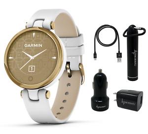 Garmin Lily Women's Smartwatch Leather Light Gold w Wearable4U Power Pack Bundle