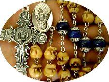 Bone Skull & Sterling Silver Flower Lapis lazuli Beads Rosary Cross Necklace