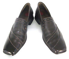 "Lassen Shoes Sz 38 (7 / 7.5) Womens Brown Leather Loafers 1"" Heels Slip On Pumps"