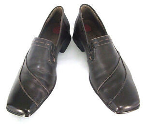 "Lassen Shoes Sz 38 (7 / 7.5) Womens Brown Leather Loafers 1"" Heels Slip On Pumps"