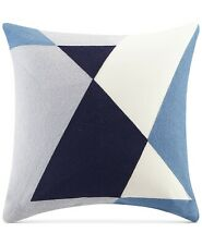 """INK+IVY 20"""" Square Decorative Pillow Aero Embroidered Abstract BLUE A02033"""
