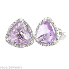 Sterling Silver Trillion Cut Amethyst with Diamond Border Stud Earrings