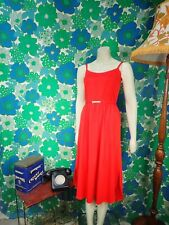 N93 Red Vintage 1970's Dress Size 8 Belted Disco Party Summer