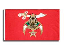 Masonic Shriner 3x5 Polyester Flag - With Red Background Freemasons Symbol