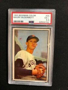 1953 Bowman Color Baseball Maury McDermott Card # 35 Boston Red Sox PSA 5.5