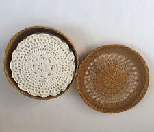 12 Vintage Crocheted Doilies In Wicker Box Snowflake Cotton Coasters Crafts