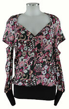 Costume national Shirt 36 (D) 42 (ital) Top Bluse rosa schwarz reine Seide silk