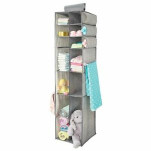 mDesign Kids Fabric Over Closet Rod Hanging Organizer - Gray