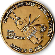 THE FIRST SPACE RENDEZVOUS RUSSIAN AUGUST 11/12/62 ANTIQUE BRONZE COMMEMORATIVE