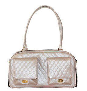 PETOTE Marlee - Petal Pink Quilted PVC Tote Dog Carrier Airline Bag